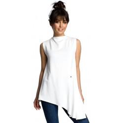 Textiel Dames Tops / Blousjes Be B069 Asymmetrische mouwloze top - ecru