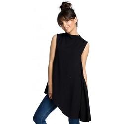 Textiel Dames Tops / Blousjes Be B069 Asymmetrische mouwloze top - zwart