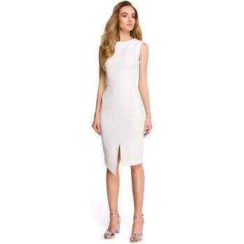 Textiel Dames Korte jurken Style S105 Faux-wrap mouwloze jurk - ecru