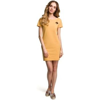 Textiel Dames Korte jurken Moe M374 Mini jurkje met badge - geel