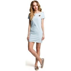 Textiel Dames Korte jurken Moe M374 Mini jurkje met badge - lichtblauw