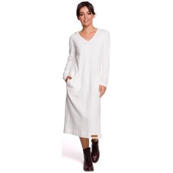 Textiel Dames Lange jurken Be B128 Maxi jurk met capuchon - ecru