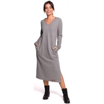 Textiel Dames Lange jurken Be B128 Maxi jurk met kap - grijs