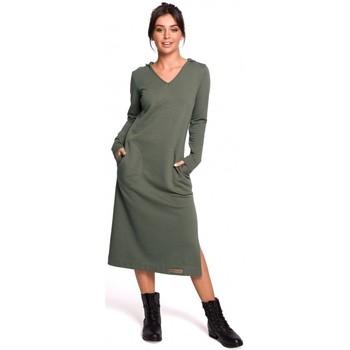 Textiel Dames Lange jurken Be B128 Maxi jurk met capuchon - kaki