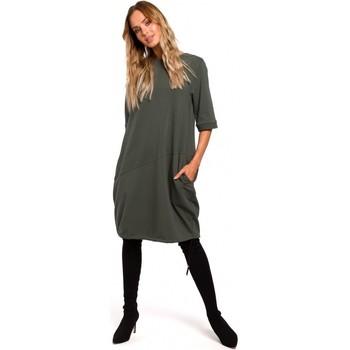 Textiel Dames Korte jurken Moe M451 Jurk met gestrikte onderzoom - militair groen