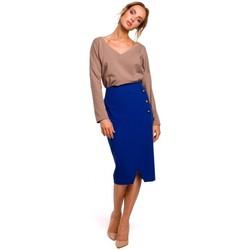 Textiel Dames Rokken Moe M454 Kokerrok met sierknopen - koningsblauw