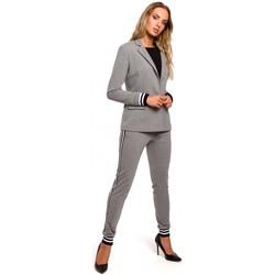 Textiel Dames Colberts Moe M459 Blazer met gestreepte geribde manchetten - grijs