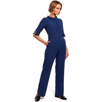 Textiel Dames Jumpsuites / Tuinbroeken Moe M463 Jumpsuij met opstaande kraag - marineblauw