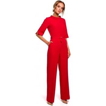 Textiel Dames Jumpsuites / Tuinbroeken Moe M463 Jumpsuij met opstaande kraag - rood