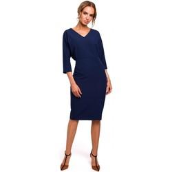Textiel Dames Korte jurken Moe M464 Batwing mouw jurk - marine blauw