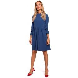 Textiel Dames Korte jurken Moe M465 Shiftjurk met ruige mouwen - blauw