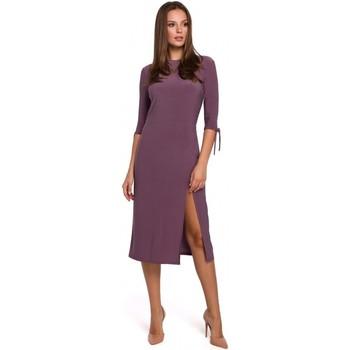 Textiel Dames Korte jurken Makover K007 Gebreide jurk met aangeknoopte mouwen - heather
