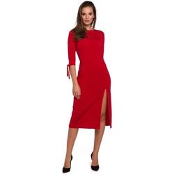 Textiel Dames Korte jurken Makover K007 Gebreide jurk met aangeknoopte mouwen - rood