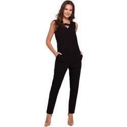 Textiel Dames Jumpsuites / Tuinbroeken Makover K009 Eendelige jumpsuit met v-hals - zwart