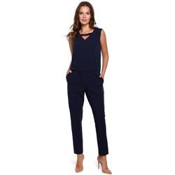 Textiel Dames Jumpsuites / Tuinbroeken Makover K009 Eendelige jumpsuit met v-hals - marineblauw