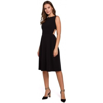 Textiel Dames Jurken Makover K011 Open rug uitlopende jurk - zwart