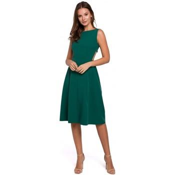 Textiel Dames Korte jurken Makover K011 Open rug uitlopende jurk - groen