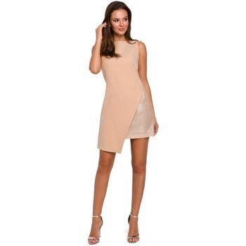 Textiel Dames Korte jurken Makover K014 Mini jurk met asymetrische zoom - beige
