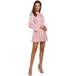 Textiel Dames Korte jurken Makover K021 Mini jurkje met geplooide onderzoom - crêpe roze