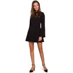 Textiel Dames Korte jurken Makover K021 Mini jurkje met geplooide onderzoom - zwart