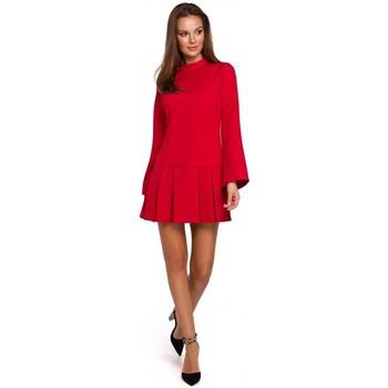 Textiel Dames Korte jurken Makover K021 Mini jurkje met geplooide onderzoom - rood