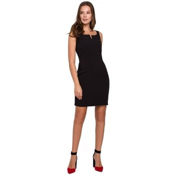 Textiel Dames Korte jurken Makover K022 Mini jurkje met vierkante halslijn - zwart