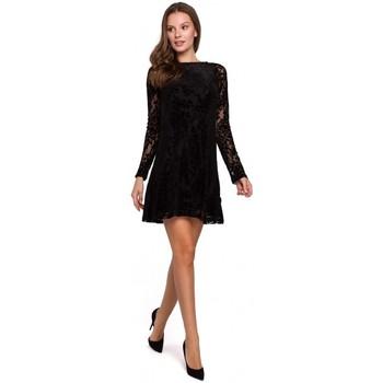 Textiel Dames Jurken Makover K023 Flock kanten jurk - zwart