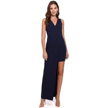 Textiel Dames Lange jurken Makover K026 Lange asymmetrische jurk - marineblauw