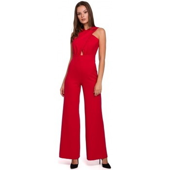 Textiel Dames Jumpsuites / Tuinbroeken Makover K029 jumpsuit met kruis voorzijde - rood