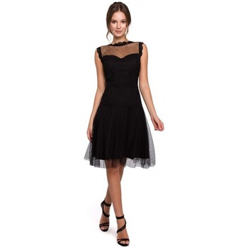 Textiel Dames Korte jurken Makover K030 Bolletjes tule jurk - zwart