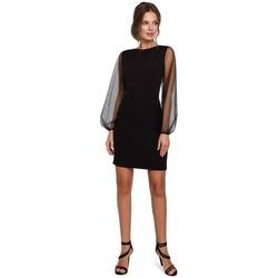 Textiel Dames Korte jurken Makover K032 mini jurk met tule mouwen - zwart