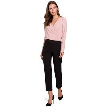 Textiel Dames Broeken / Pantalons Makover K035 Broek met elastiek in de taille - zwart