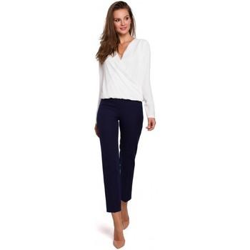 Textiel Dames Broeken / Pantalons Makover K035 Broek met elastiek in de taille - diepblauw