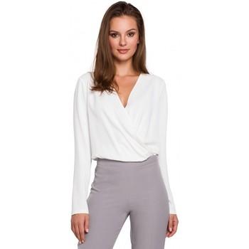 Textiel Dames Tops / Blousjes Makover K037 Wikkel blouse - ecru