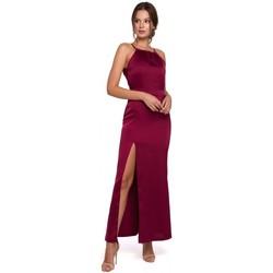Textiel Dames Lange jurken Makover K042 Maxi-jurk met vastgestrikte halslijn - marineblauw
