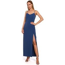 Textiel Dames Lange jurken Moe M485 Maxi avondjurk met hoge split - blauw