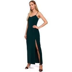 Textiel Dames Lange jurken Moe M485 Maxi avondjurk met hoge split - groen