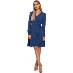 Textiel Dames Korte jurken Moe M487 Wikkeljurk met aangeplooide mouwen - blauw