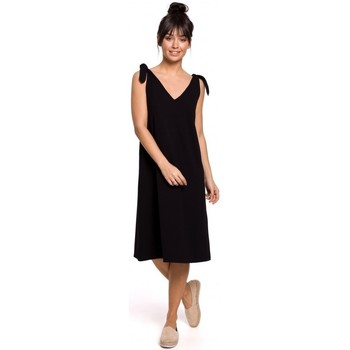 Textiel Dames Korte jurken Be B148 Trapezejurk met bindbandje - zwart
