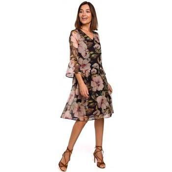 Textiel Dames Korte jurken Style S214 Chiffon jurk met losse taille - model 3