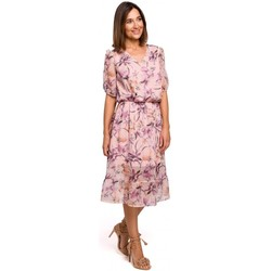 Textiel Dames Jurken Style S215 Chiffon jurk met ruche zoom - model 2