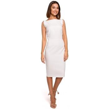 Textiel Dames Korte jurken Style S216 Mouwloze kokerjurk - ecru