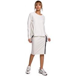 Textiel Dames Tops / Blousjes Moe M492 Pullover hoog-laag top met logostrepen - ecru