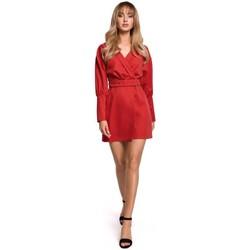 Textiel Dames Korte jurken Moe M501 Mini jurkje met pofmouwtjes - rood
