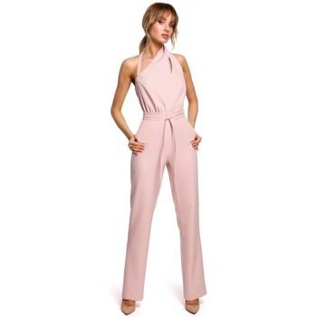 Textiel Dames Jumpsuites / Tuinbroeken Moe M502 Elegante jumpsuit met asymmetrische halslijn - poeder
