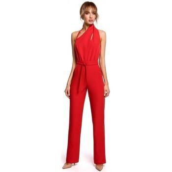 Textiel Dames Jumpsuites / Tuinbroeken Moe M502 Elegante jumpsuit met asymmetrische halslijn - zwart