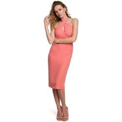 Textiel Dames Korte jurken Makover K043 Gebonden hals jurk - oranje