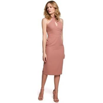 Textiel Dames Korte jurken Makover K043 Gebonden hals jurk - rose