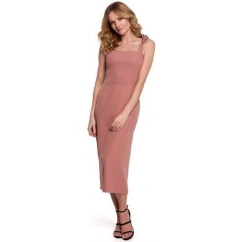 Textiel Dames Jurken Makover K046 Midi-jurk met strikbandjes - rose