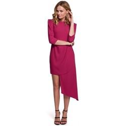 Textiel Dames Jurken Makover K047 Asymmetrische schede jurk - pruim